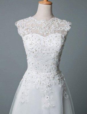 Robe de mariée vintage thé longueur bijou cou sans manches une ligne taille naturelle Tulle courte robe de mariée exclusive_4