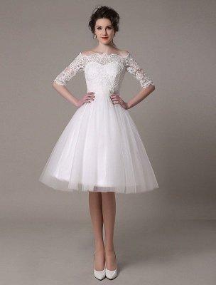 Robes de mariée en dentelle 2021 courtes sur l'épaule une ligne longueur au genou taille strass robe de mariée exclusive_2