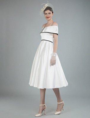 Vintage Wedding Dresses Satin Off The Shoulder A Line Tea Length Short Bridal Gowns Exclusive_8