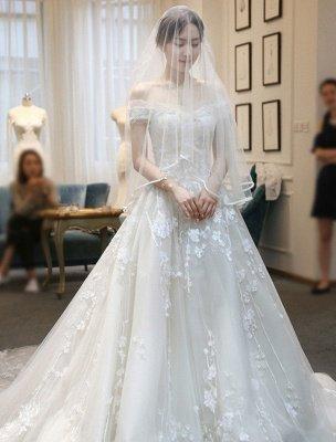 Prinzessin Ballkleid Brautkleider Spitze bestickt Schulterfrei Royal Brautkleid mit Zug_4