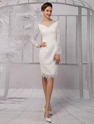 Einfache Brautkleider 2021 Kurze Langarm Illusion Ausschnitt Koyhole Knielangen Mantel Brautkleid Exklusiv_2