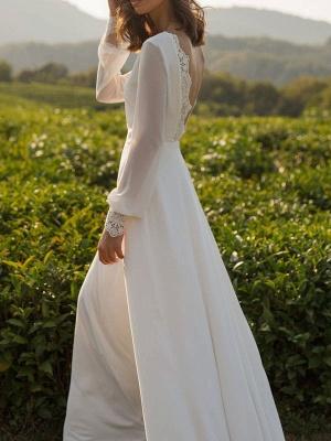 Einfaches Hochzeitskleid Lycra Spandex Bateau-Ausschnitt mit langen Ärmeln Spitze A-Linie Brautkleider_7
