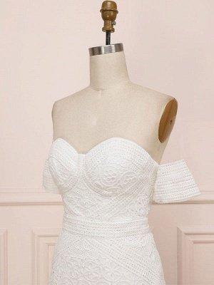Weißes Spitze Brautkleid bodenlangen Mantel Ärmellos Spitze Schatz-Ausschnitt Brautkleider Zug Kleid_6