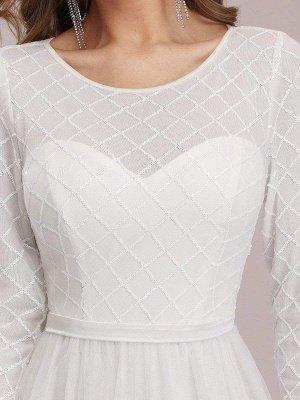 Vestido de novia blanco simple Cuello joya Mangas largas Cintura natural Una línea de tul Vestidos de novia largos_6