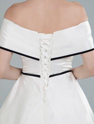 Vintage Wedding Dresses Satin Off The Shoulder A Line Tea Length Short Bridal Gowns Exclusive_2