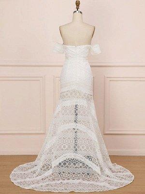 Weißes Spitze Brautkleid bodenlangen Mantel Ärmellos Spitze Schatz-Ausschnitt Brautkleider Zug Kleid_4