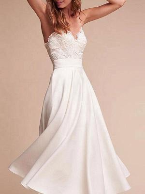 Robe de mariée courte col en V sans manches une ligne longueur de thé bretelles robes de mariée_3