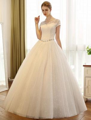 Prinzessin Ballkleid Brautkleider Spitze Pailletten Brautkleid Elfenbein Perlen Schärpe Backless Brautkleider_4