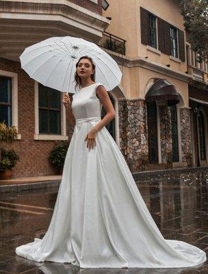 Robes de mariée A-Ligne Traîne Tribunal Sans Manches Ceinture Bijou Cou Robes De Mariée Exclusif_2