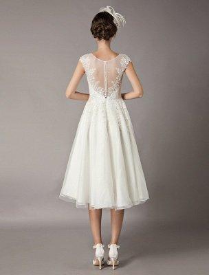 Vintage Wedding Dresses Short Lace Tulle Sequin Tea Length Ivory Bridal Dress_5