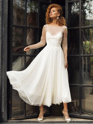 Ivory Wedding Dress Jewel Neck Long Sleeves Backless Lace Bridal Gowns_1