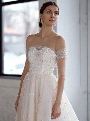 Robe de mariée blanche A-Line Robes de mariée Robe de mariée en tulle perlé_3