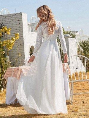 Vestido de novia blanco simple Cuello joya Mangas largas Cintura natural Una línea de tul Vestidos de novia largos_3