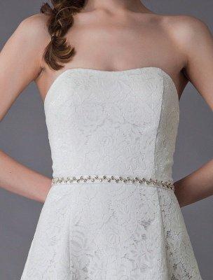 Einfache Brautkleider Spitze High Low Trägerlose Schärpe Asymmetrisches Kurzes Brautkleid Exklusiv_9