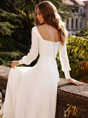 White Simple Wedding Dress Satin Fabric Square Neck Long Sleeves A-Line Floor Length Bridal Gowns_6