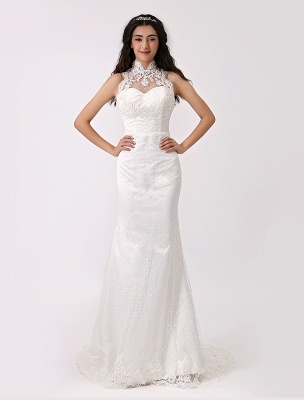 Vintage Inspired Illusion Neck Sheath/Column Wedding Dress With Lace Overlay Exclusive_2