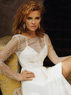 Ivory Wedding Dress Jewel Neck Long Sleeves Backless Lace Bridal Gowns_3
