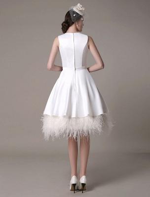 Vestido de novia de corte A hasta la rodilla Vestido de novia con lazo de satén escalonado con plumas Exclusivo_6