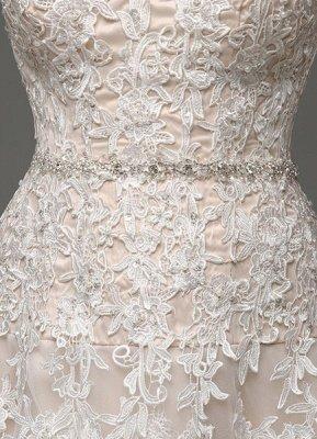 Robes de mariée Champagne Tulle Bretelles Sweatheart Dentelle Sash Robe de mariée_9