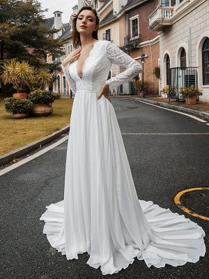 Simple Wedding Dress Chiffon V Neck Long Sleeves Lace A Line Bridal Dresses With Train_2