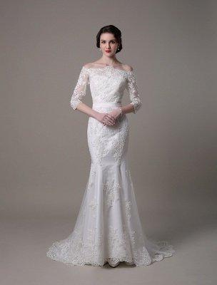 Wedding Dresses Vintage Lace Mermaid Of The Shoulder Court Train Bridal Dress Exclusive_1
