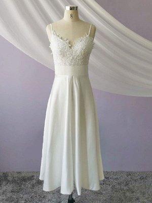 Robe de mariée courte col en V sans manches une ligne longueur de thé bretelles robes de mariée_4