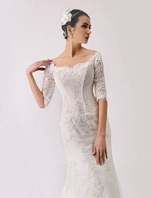 2021 Vintage Inspired Off The Shoulder Mermaid Lace Wedding Gown Exclusive_6