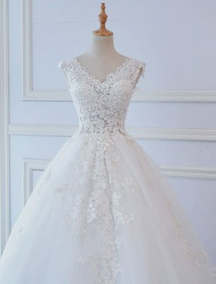 Princess Wedding Dresses Ball Gowns Lace V Neck Sleeveless Floor Length Bridal Gowns_4