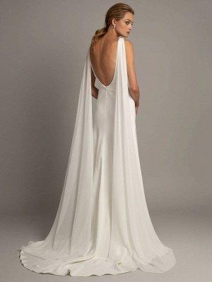 Vestido de novia blanco simple Tela de satén Cuello en V Sin mangas Volantes Una línea Vestidos de novia largos_2