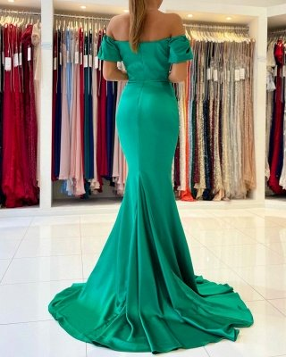 Off the Shoulder Satin Ruffle Slim Mermaid Evening Gown_5