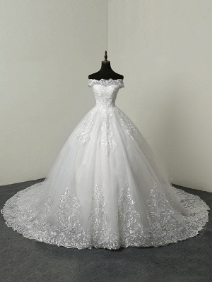Wedding Dresses 2021 Ball Gown Off The Shoulder Short Sleeve Natural Waist Lace Applique Tulle Bridal Dress_1