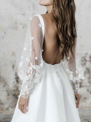 Robe de mariée simple blanche A-ligne col carré manches longues dos nu appliques découpes fendues devant longues robes de mariée_3
