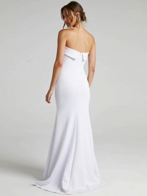 Weißes einfaches Brautkleid Meerjungfrau Pinsel Zug Reißverschluss trägerlose Polyester Brautkleider_3