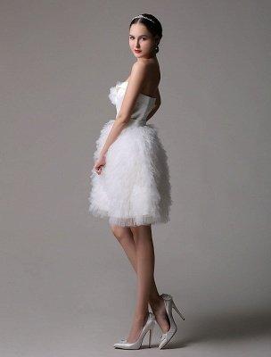 Trägerloses Sweatheart kurzes Brautkleid aus Satin mit müdem Tüllrock_4
