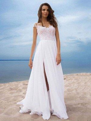 Vestidos de novia boho 2021 Gasa Cuello en V Mangas cortas Una línea Vestidos de novia con frente dividido para bodas en la playa_4