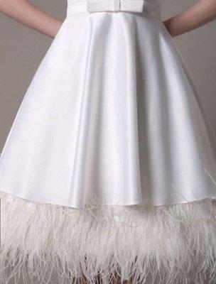 Vestido de novia de corte A hasta la rodilla Vestido de novia con lazo de satén escalonado con plumas Exclusivo_9