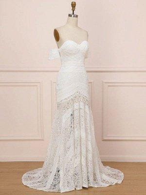 Weißes Spitze Brautkleid bodenlangen Mantel Ärmellos Spitze Schatz-Ausschnitt Brautkleider Zug Kleid_7