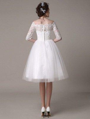Robes de mariée en dentelle 2021 courtes sur l'épaule une ligne longueur au genou taille strass robe de mariée exclusive_6
