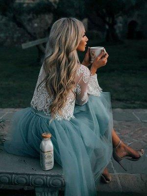Vestido de novia azul simple Una línea de vestidos de novia de tul de encaje con escote diseñado_3