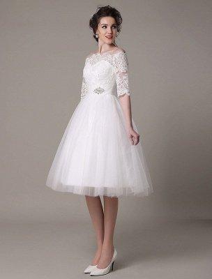 Robes de mariée en dentelle 2021 courtes sur l'épaule une ligne longueur au genou taille strass robe de mariée exclusive_4