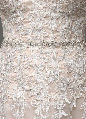 Robes de mariée Champagne Tulle Bretelles Sweatheart Dentelle Sash Robe de mariée_8