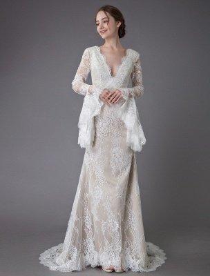 Champagne Brautkleider Spitze V-Ausschnitt Langarm Mantel Boho Brautkleid mit Zug Exklusiv_4