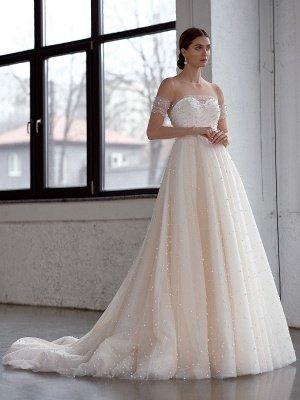 Robe de mariée blanche A-Line Robes de mariée Robe de mariée en tulle perlé_1