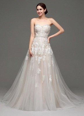 Robes de mariée Champagne Tulle Bretelles Sweatheart Dentelle Sash Robe de mariée_2