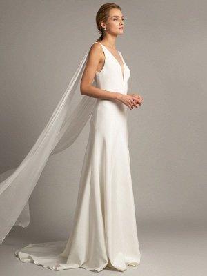 Vestido de novia blanco simple Tela de satén Cuello en V Sin mangas Volantes Una línea Vestidos de novia largos_3