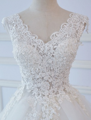 Princess Wedding Dresses Ball Gowns Lace V Neck Sleeveless Floor Length Bridal Gowns_5