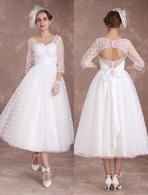 Vintage Wedding Dress Short 1950'S Bridal Dresses Ivory Long Sleeve Open Back Polka Dot Ribbon Sash Wedding Reception Dress Exclusive_1