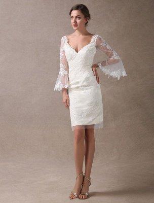 Boho Wedding Dresses Short Sheath Beach Bridal Dress Bell Sleeve Lace Applique V Neck Knee Length Summer Wedding Gowns Exclusive_5