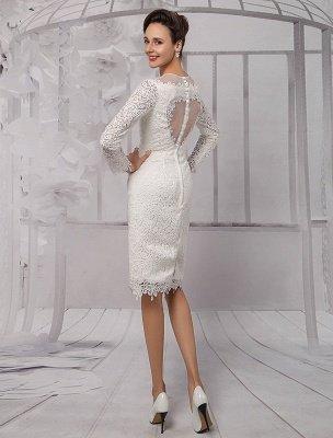 Einfache Brautkleider 2021 Kurze Langarm Illusion Ausschnitt Koyhole Knielangen Mantel Brautkleid Exklusiv_6