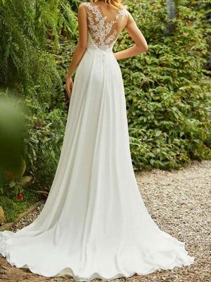 Einfache Brautkleider 2021 Chiffon A Line V-Ausschnitt ärmellose Spitze Perlen Brautkleider mit Zug_2